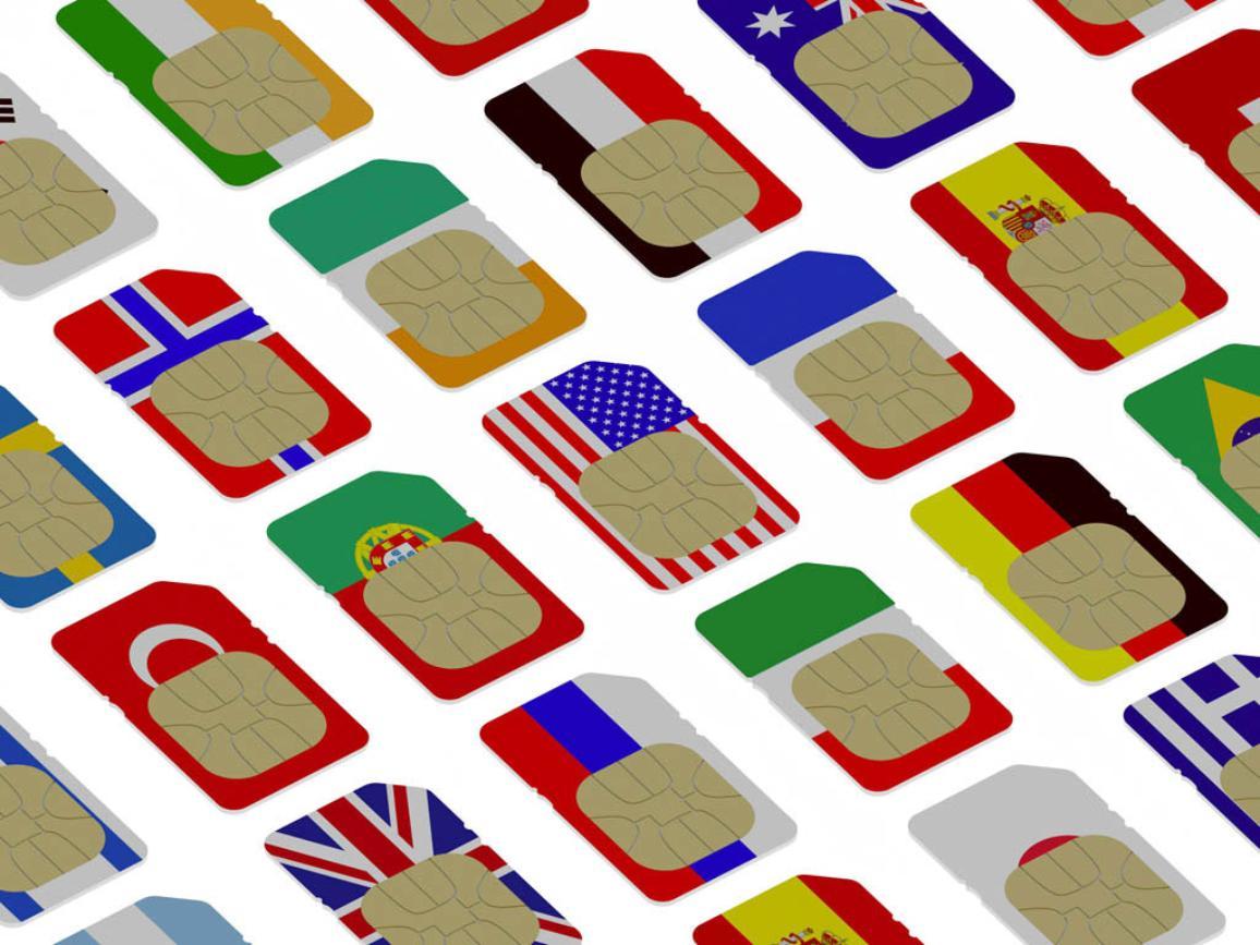 3D SIM cards represented as flags of different countries ©BELGA/Easyfotostock/V.Gorbunov