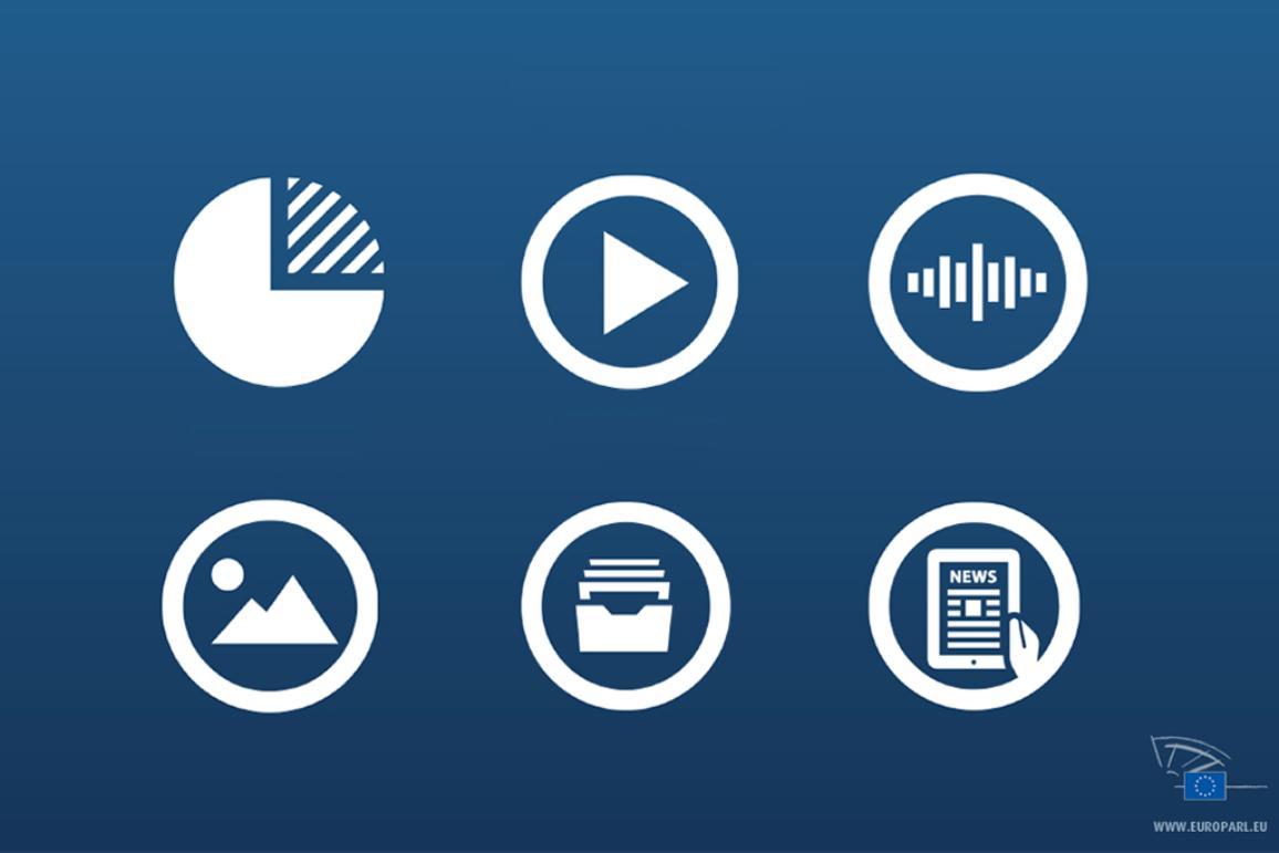 Icônes représentant les différents produits éditoriaux du Parlement européen: infographies, vidéos, images, etc.