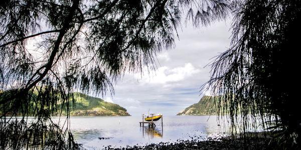 Een baai in Polynesië