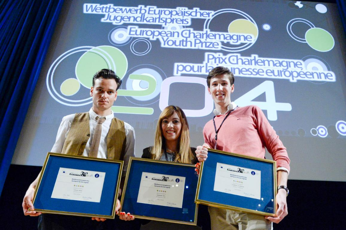 The three winners of the Charlemagne Youth Prize 2014