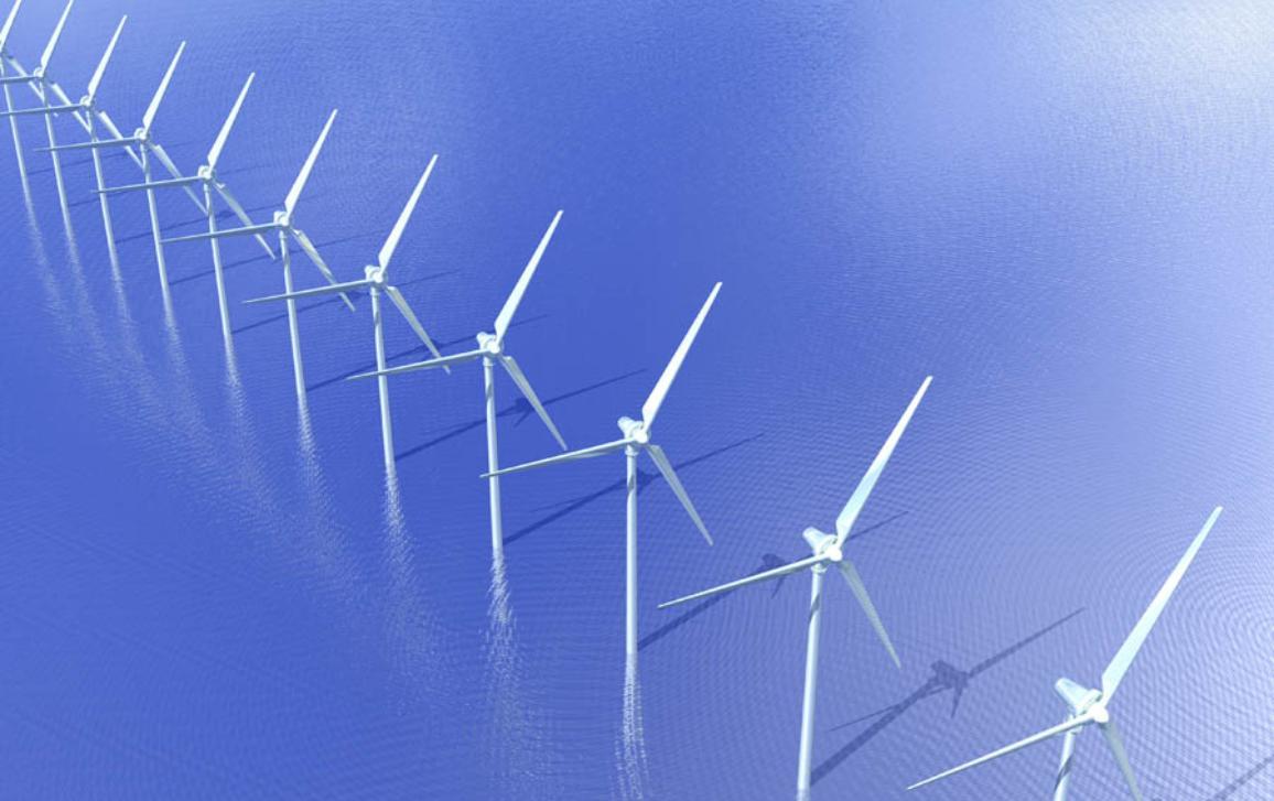 Řada větrných elektráren v moři. ©BELGA_Zoonar-Niehus