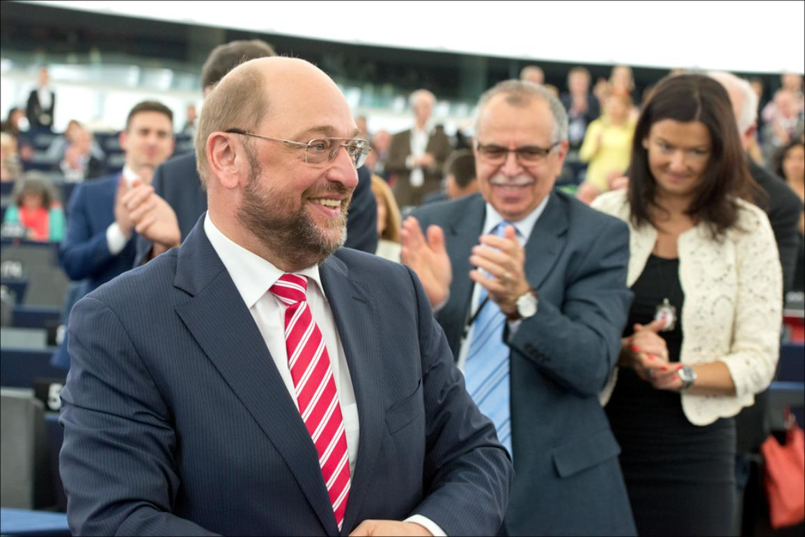 Martin Schulz smiles after being re-elected as EP President