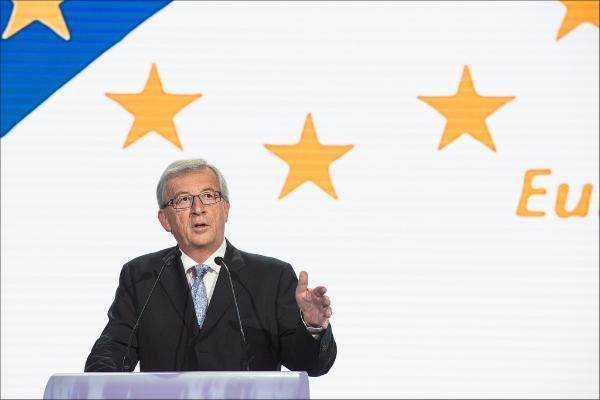 Jean-Claude Juncker during the elections night press point at the European Parliament
