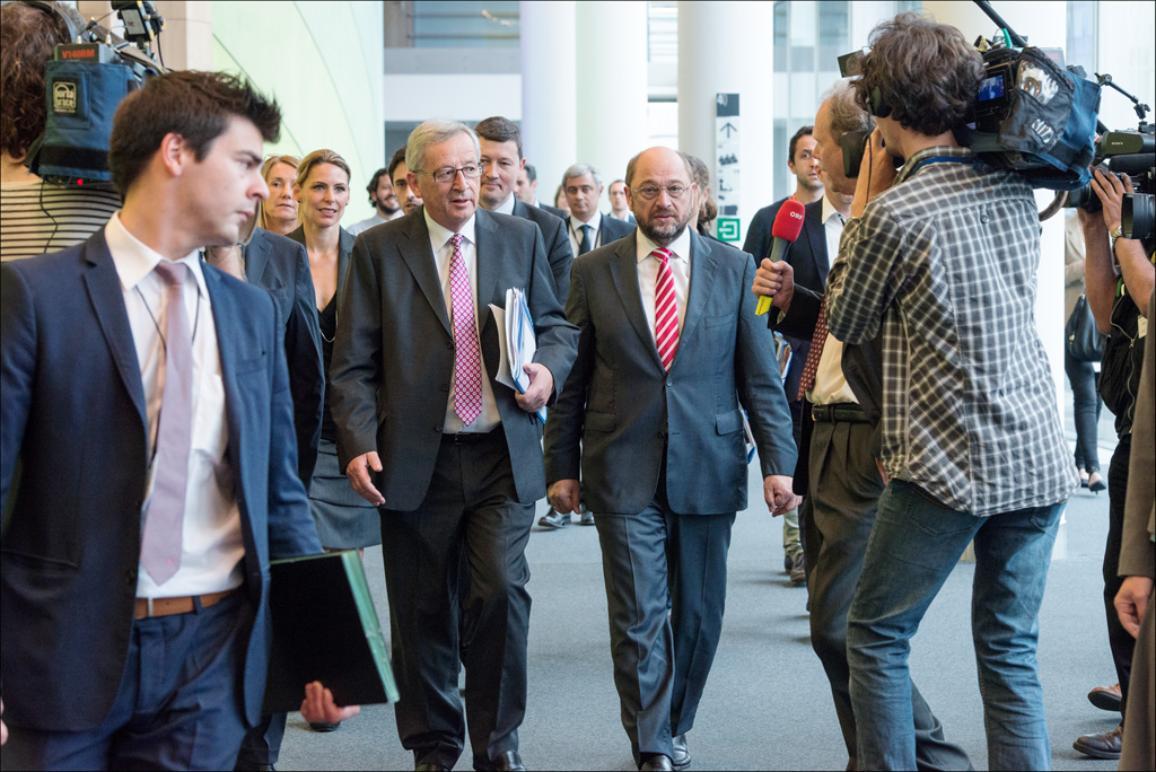 Jean-Claude Juncker, a su llegada al Parlamento Europeo para reunirse con los grupos políticos.