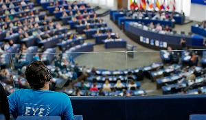 EYE participant is listening to the closing discussion in the EP Plenary