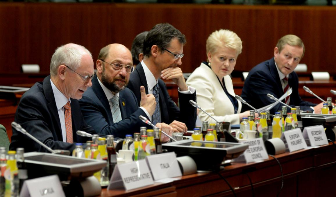 From left to right: Mr Herman Van Rompuy, President of the European Council; Mr Martin Schulz, President of the European Parliament; Mr Uwe Corsepius, Secretary-General of the Council; Ms. Dalia Grybauskaite, President of Lithuania; Mr Enda Kenny, Irish Prime Minister. ©The Council of the European Union