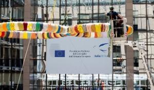 Decorations of the Italian Presidency at the EU Council headquarters
