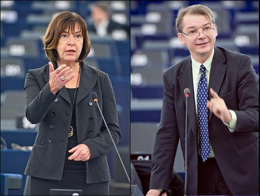 Rebecca Harms et Philippe Lamberts, co-présidents du groupe des Verts/Alliance Libre européenne