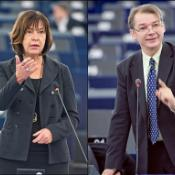 Rebecca Harms and Philippe Lamberts, co-chairman and -woman of the Greens/EFA group