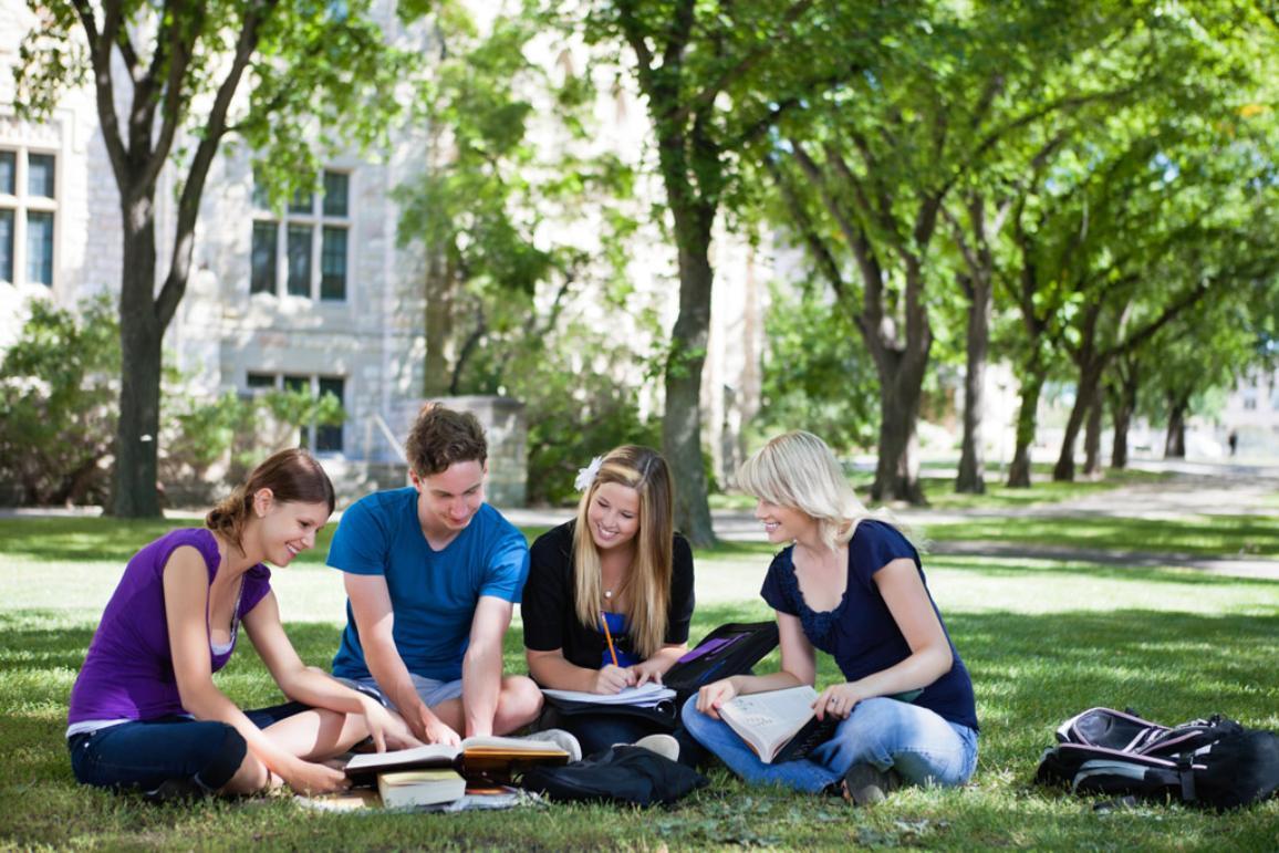 Students studying together outside © Belga/Easyphotostock/T. Olson