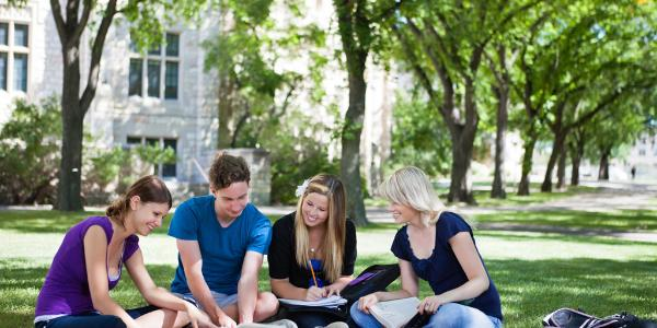 Students studying together outside © Belga/Easyphotostock/T. Olson