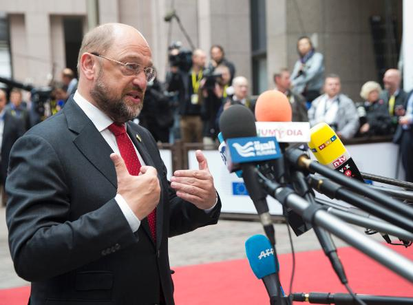 EP President Martin Schulz arrives at the European Council meeting of Saturday 30-08-2014 © The Council of the European Union