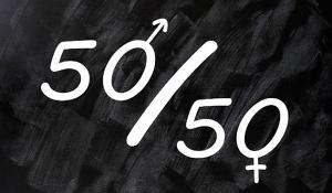Fifty percent concept of gender equal opportunities