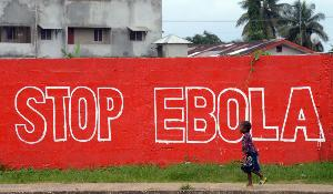 """A girl walks past a slogan painted on a wall reading """"Stop Ebola"""" in Monrovia on August 31, 2014. ©BELGA_AFP_D.FAGET"""