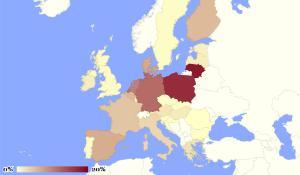 Ocena stroškov, ki bi jih lahko utrpele posamezne države zaradi ruskega embarga (na osnovi podatkov iz leta 2013)