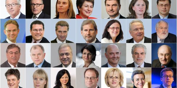 Bildcollage med porträttbilder för Juncker samt samtliga föreslagna kommissionärer