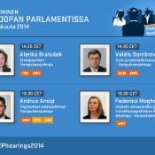 Komissaarikuulemiset jatkuvat parlamentissa.