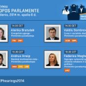 Europarlamentarai pirmadienį išklausys keturis pretendentus į eurokomisarus