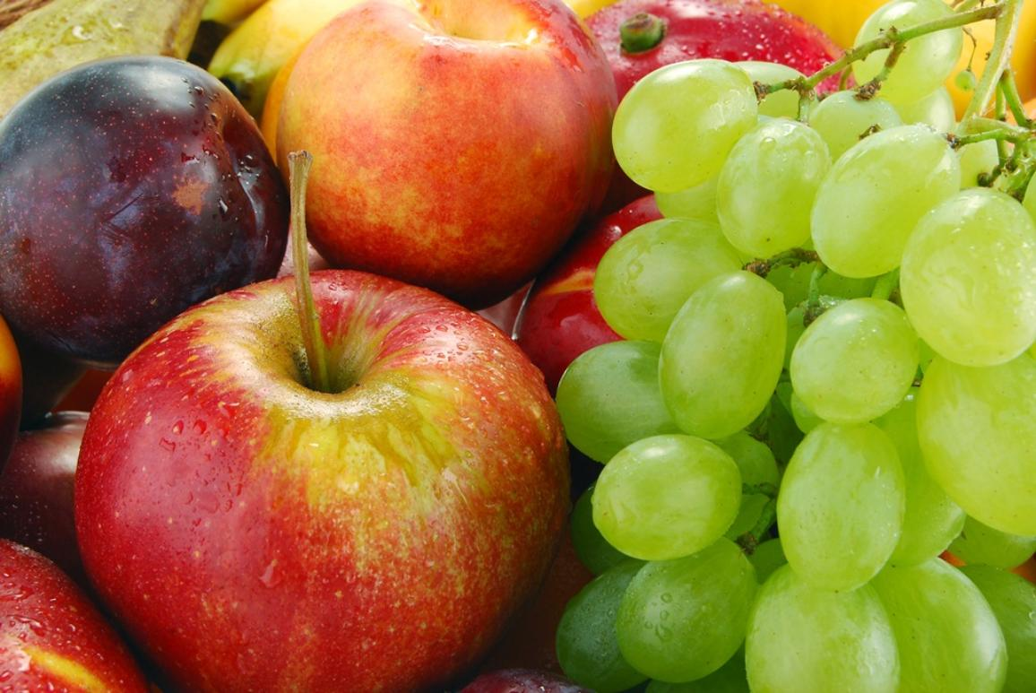 Selection of fruit apples, grapes, plums