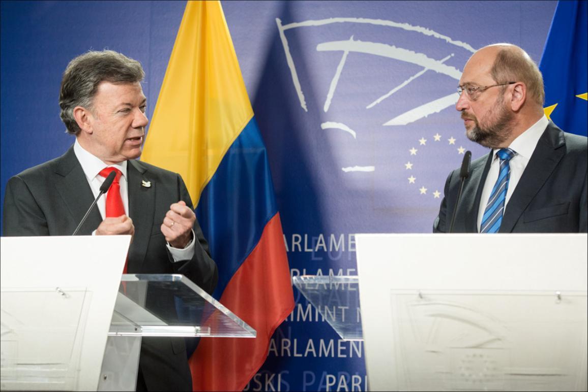 Colombia's President Juan Manuel Santos Calderón and European Parliament President Martin Schulz during the press conference