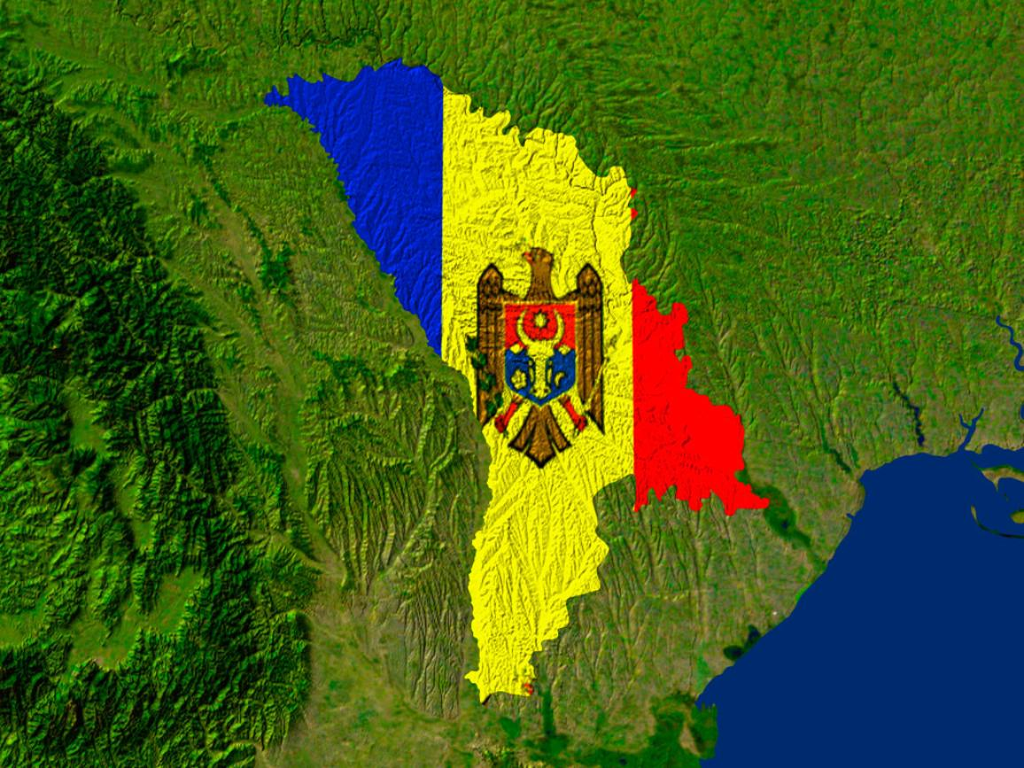 Satellite image of Moldova with the country's flag covering it