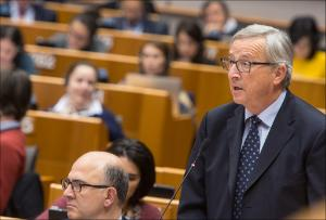 EC President Jean Claude Juncker is pictured during the debate on the fight against tax avoidance