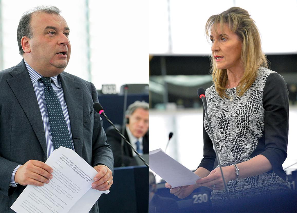 Picture of Fulvio Martusciello, EPP, and Martina Anderson, GUE/NGL, who on the 26th of November debate whether Palestine should be recognized as a state.  ©EuropeanParliament_Pietro_Naj-Oleari ©EuropeanParliament_Pietro_Naj-Oleari