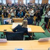 Federica Mogherini, propuesta para el cargo de alta representante de la política exterior europea, compareció ante la Eurocámara al igual que el resto de los candidatos a comisarios europeos.