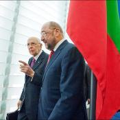 Presidential duo: Italian President Giorgio Napolitano and European Parliament President Martin Schulz