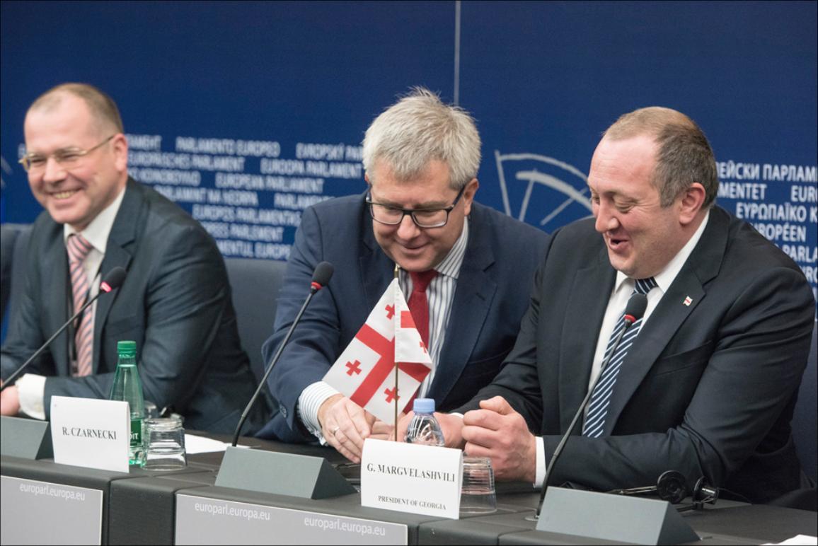 Press conference on the ratification of the EU-Georgia Association Agreement with (L-R) the rapporteur Andrejs Mamikins, the Vice-President of the European Parliament Ryszard Czarnecki and Georgia President Giorgi Margvelashvili