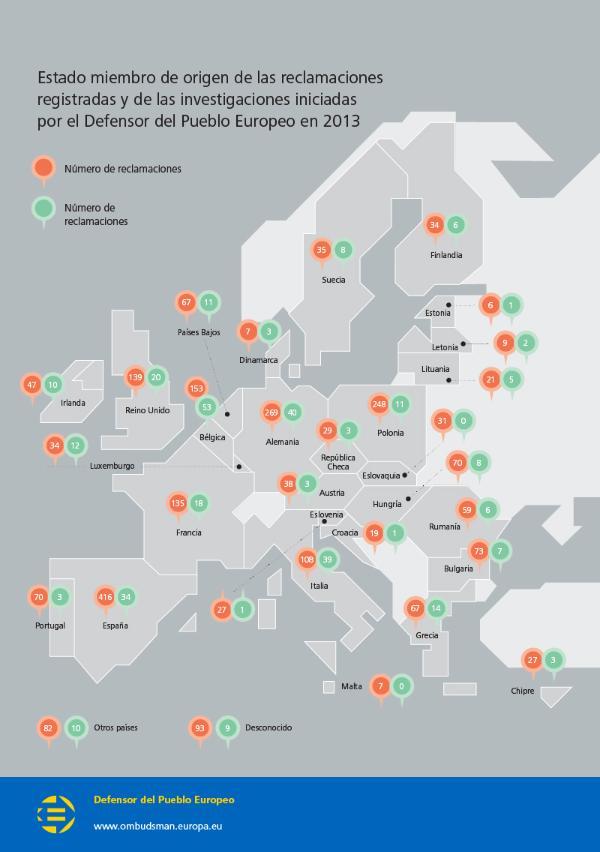 El gráfico que ilustra esta información detalla el reparto geográfico del origen de las reclamaciones.