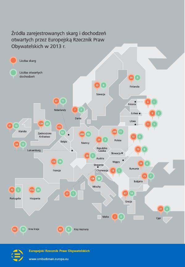Skargi i dochodzenia prowadzone przez Europejską Rzeczniczkę Praw Obywatelskich