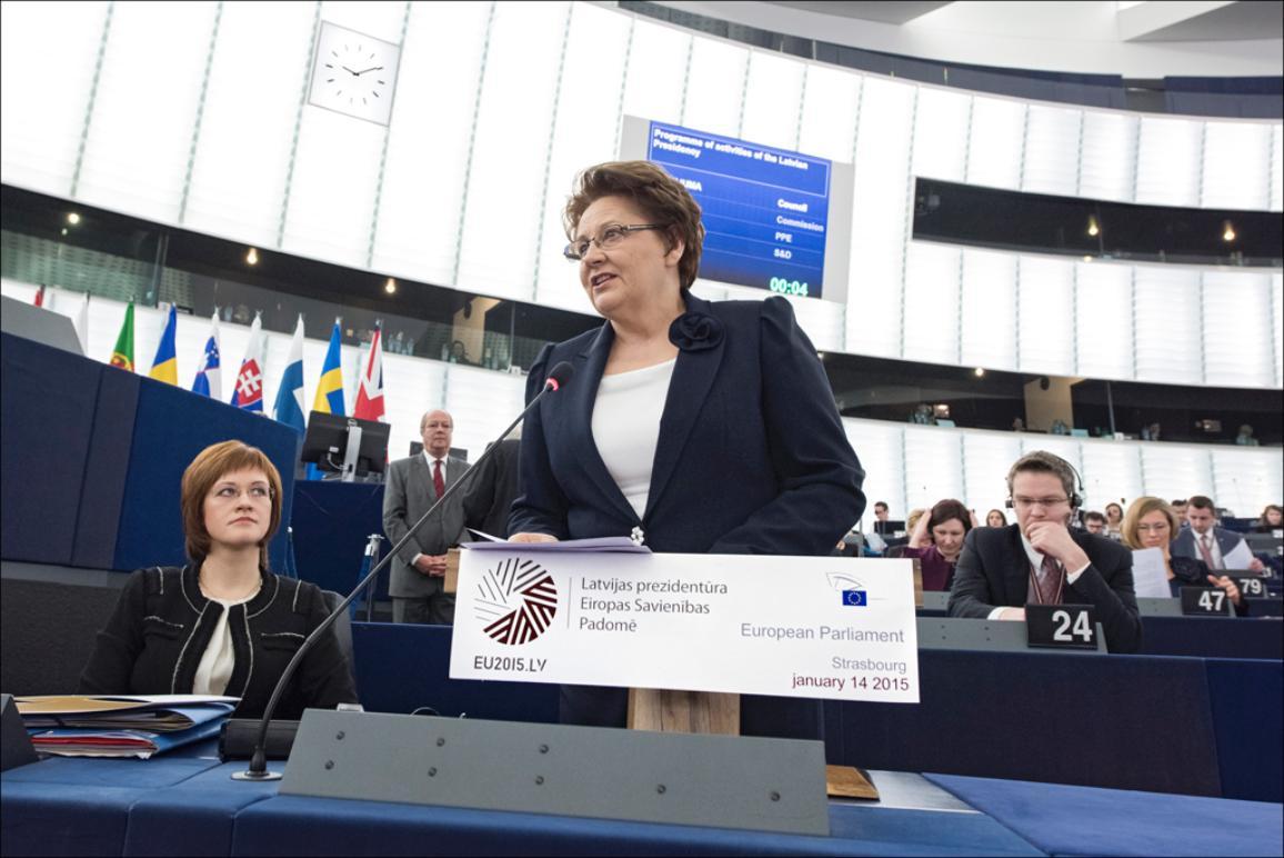Latvia's PM Laimdota Straujuma presents Latvian Presidency's priorities #eu2015lv at the European Parliament