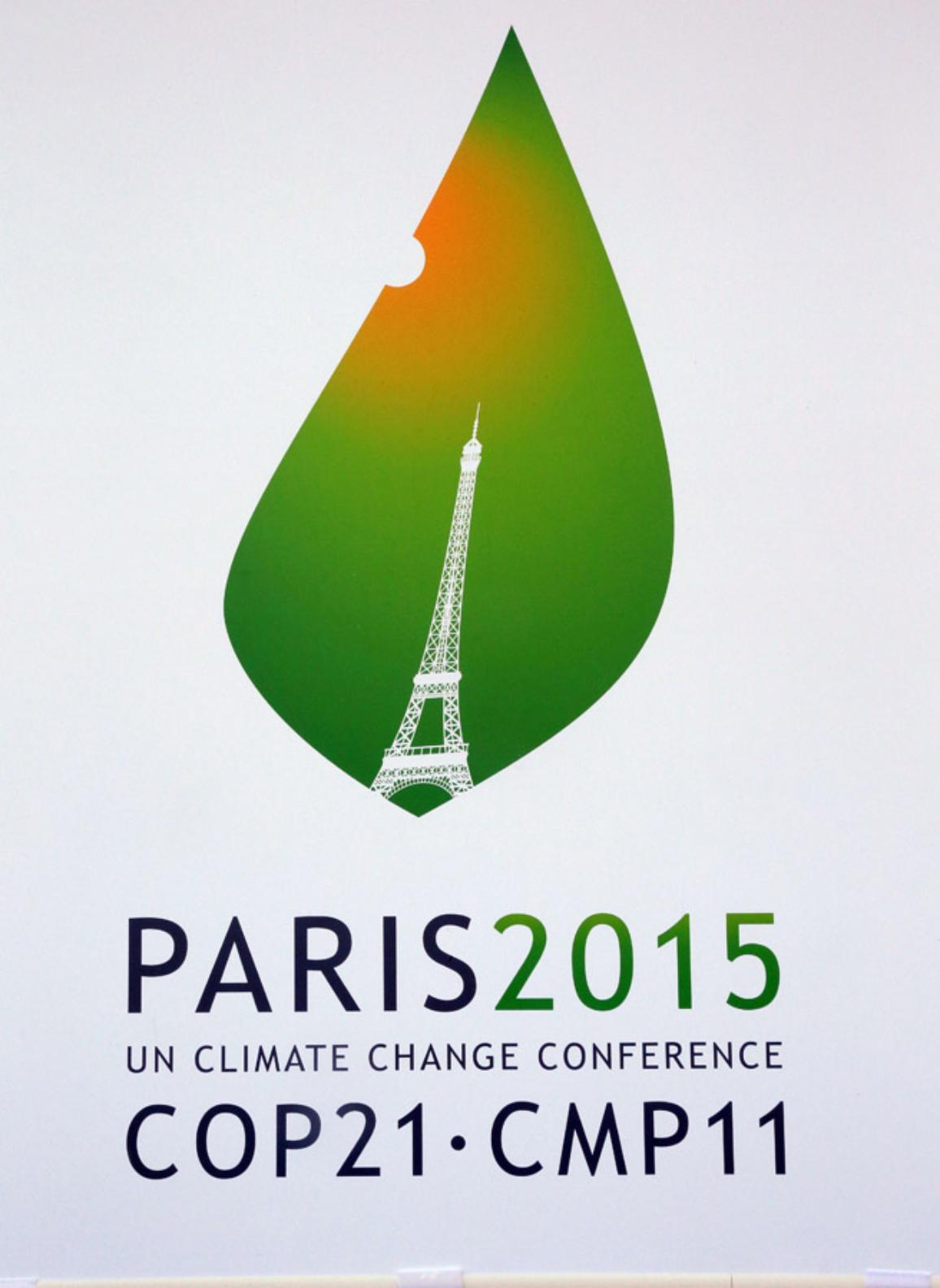 The logo of the upcoming UN Climate Change Conference, the Cop 21 summit in Paris, on January 14, 2015. ©BELGA/AFP/J.Demarthon