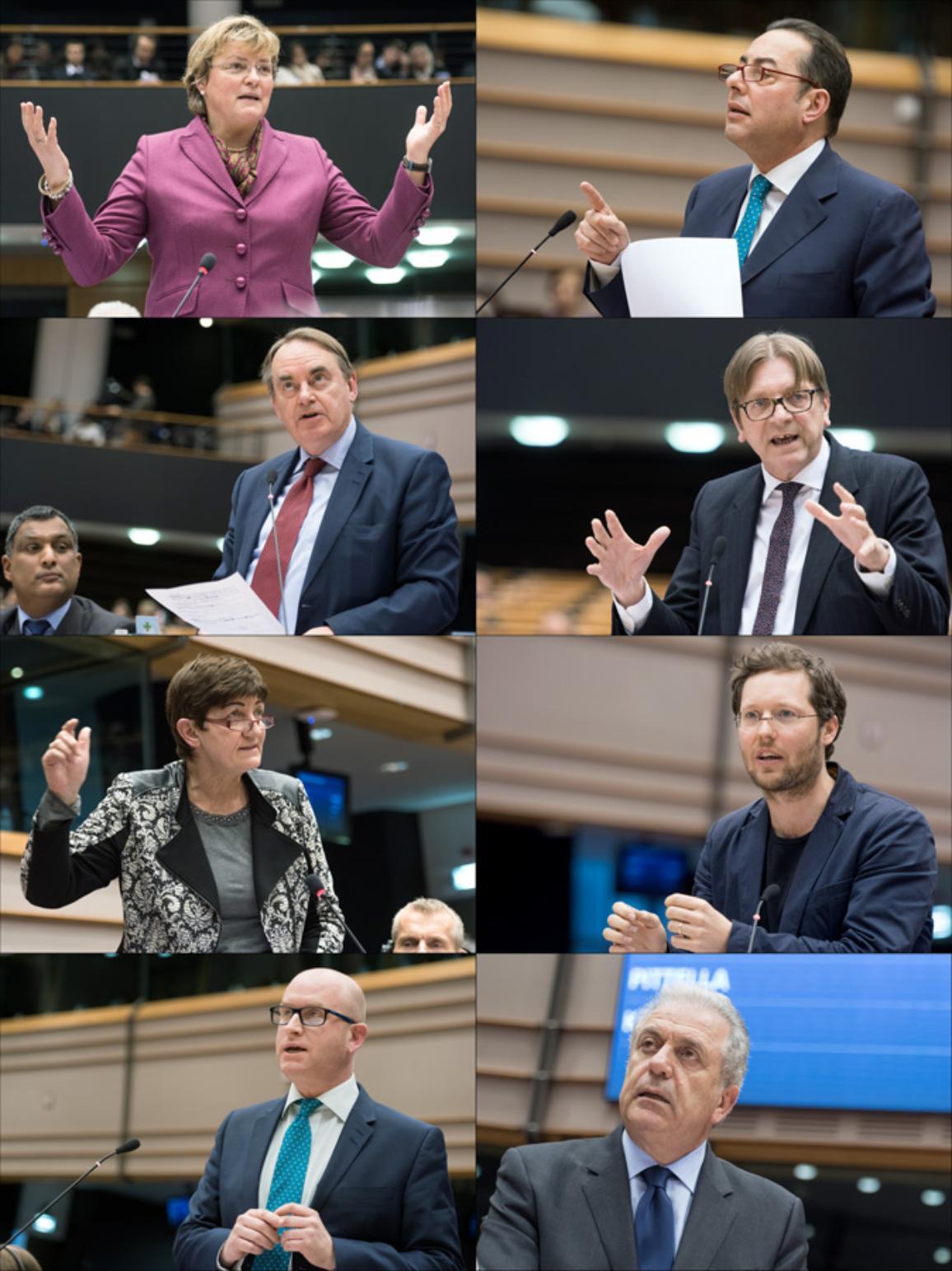 Posłowie przemawiają podczas debaty. Od lewej:  M. Hohlmeier (EPP, DE), G. Pittella (S&D, IT), T. Kirkhope (ECR, UK), G. Verhofstadt (ALDE, BE), C. Ernst (GUE/NGL, DE), J. P. Albrecht (Greens/EFA, DE), P. Nuttall (EFDD, UK), E. Synadinos (N.A.EL)