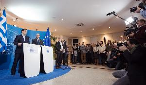 Joint press point by the European Parliament President Martin Schulz and Greek Prime Minister Alexis Tsipras