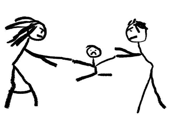 Dessin d'un enfant tiré par les bras par ses parents