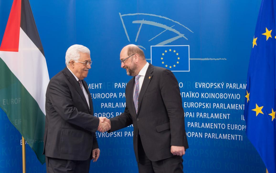 Mahmud Abbas, Presidente de Palestina, y Martin Schulz, Presidente del Parlamento Europeo.