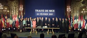 Group photo.<br />Signing of the Treaty of Nice 26th of February 2001