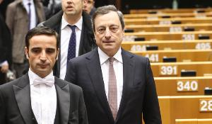 ECB President Mario Draghi arrives in Parliament to debate the ECB activities and future EMU governance