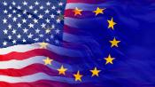 flags of the EU and the US