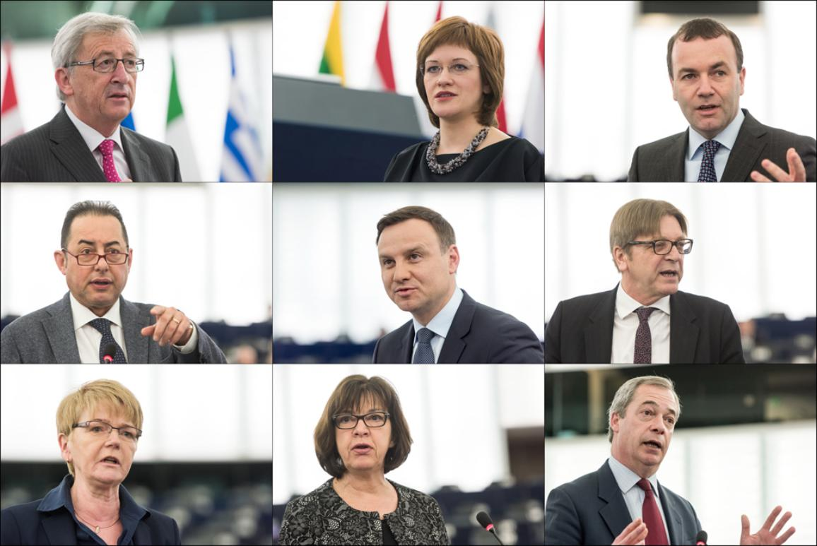 EC President J.-C. Juncker, Latvian Secretary of State Z. Kalniņa-Lukaševica, M. Weber (EPP, DE), G. Pitella (S&D, IT), A. Duda (ECR, PL), G. Verhofstadt (ALDE, BE), G. Zimmer (GUE/NGL, DE), R. Harms (Greens/EFA, DE), N. Farage (EFDD, UK)