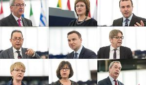 EC President J.-C. Juncker, Latvian Secretary of State Z. Kalniņa-Lukaševica, M. Weber (EPP, DE), G. Pitella (S&D, IT), A. Duda (ECR, PL), G. Verhofstadt (ALDE, BE), G. Zimmer (GUE/NGL, DE), R. Harms (Greens/EFA, DE), N. Farage (EFDD, UK)