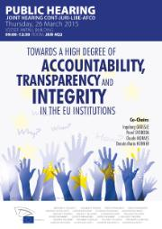 Poster on Accountability and Integrity in the EU - image with hands