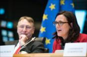 Debate with Trade Commissioner Cecilia Malmström. In the photo also EP trade chair Bernd Lange