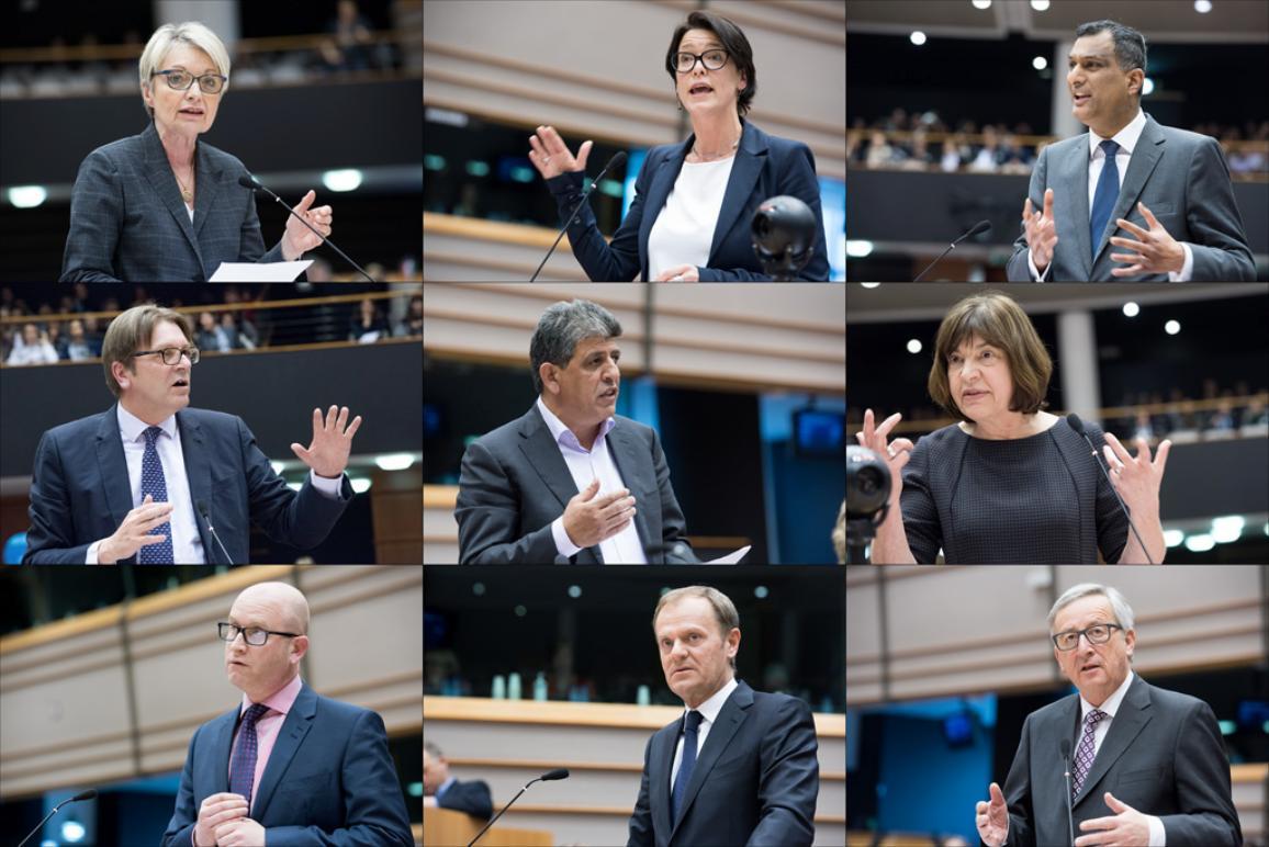 (vasemmalta oikealle) Françoise Grossetête EPP, Kathleen Van Brempt S&D, Syed Kamall ECR, Guy Verhofstadt ALDE, Neoklis Sylikiotis GUE/NGL, Rebecca Harms Greens/EFA, Paul Nuttall EFDD, Jean-Claude Juncker (komission puheenjohtaja) ja Donald Tusk (Eurooppa-neuvoston puheenjohtaja)