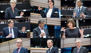 (L-R):Françoise Grossetête PPE; Kathleen Van Brempt S&D; Syed Kamall ECR; Guy Verhofstadt ALDE; Neoklis Sylikiotis GUE/NGL; Rebecca Harms Verts/ALE; Paul Nuttall EFDD; Jean-Claude Juncker (Commissioner); Donald Tusk (European Council)