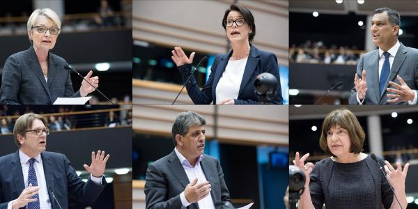 Zľava doprava: Françoise Grossetête(EĽS); Kathleen Van Brempt (S&D); Syed Kamall (EKR); Guy Verhofstadt (ALDE); Neoklis Sylikiotis (GUE/NGL); Rebecca Harms (Zelení/ESA); Paul Nuttall (ESPD); Jean-Claude Juncker a Donald Tusk