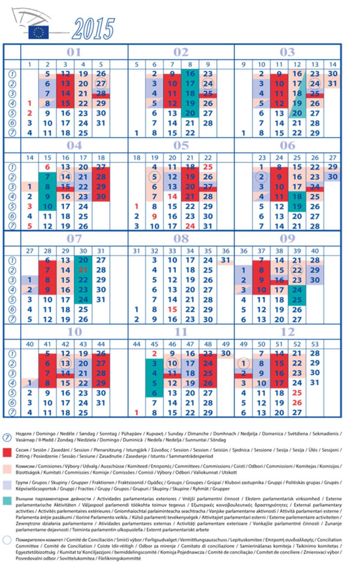 Le calendrier pour l'année 2015 du Parlement européen