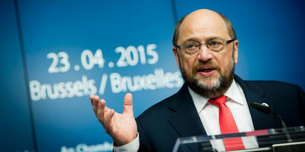 Schulz vid podium © European Union 2015